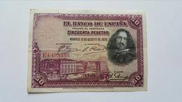 SPAGNA 50 PESETAS 1928 - [ 1] …-1931 : First Banknotes (Banco De España)