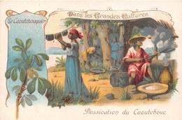 LA GUYANE - Carte Chromo - Dessication Du Caoutchou - Caoutchouquier  -  Les Grandes Cultures  - Voir Description - Guyane