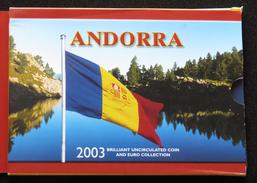 ANDORRA Set 2003 Folder 1 2 5 10 Cents. 1 Euro = 9 Coins - Andorra