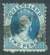 Queensland 1874. 2d Blue (p13x12 - Truncated Star). SG 81. - Gebraucht
