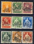 Svizzera Servizio 1923 Bureau International Du Travail Lotto Di 9 Valori Usati Cat. € 59 - Servizio