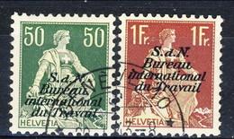 Svizzera Servizio 1923 Bureau International Du Travail N. 39 C. 50 E N. 42 Fr. 1 CARTA GOFFRATA Usati Cat. € 8 - Servizio
