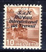 Svizzera Servizio 1937 Bureau International Du Travail N. 98A C. 10 Lilla Carta Normale Usato Cat. € 30 - Servizio