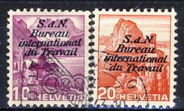 Svizzera Servizio 1937 Bureau International Du Travail N. 98A  E N. 100A  Carta Normale Usati Cat. € 32.50 - Servizio