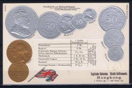 Hong Kong  Embossed Illustrated Coin Postcard Hong KOng And Straits Settlements Clean And Very Fine - Hong Kong (...-1997)