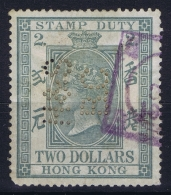 Hong Kong :Revenue Stamp Duty  $ 2 Barefoot 26   Perfin - Used Stamps