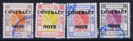 Hong Kong : Revenue Stamp Contract Note 4 X High Values , Used - Hong Kong (...-1997)