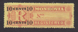 Liberia, Scott #F8, Mint Hinged, Registration Stamp Surcharged, Issued 1894 - Liberia
