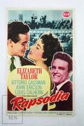 Old Cinema/ Movie Advtg Leaflet - Actress: Elizabeth Taylor In The Movie: Rhapsody - Publicidad