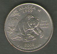 STATI UNITI QUARTER DOLLAR 2008 ALASKA - Emissioni Federali