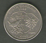 STATI UNITI QUARTER DOLLAR 2000 SOUTH CAROLINA - Emissioni Federali