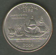 STATI UNITI QUARTER DOLLAR 2000 VIRGINIA - 1999-2009: State Quarters