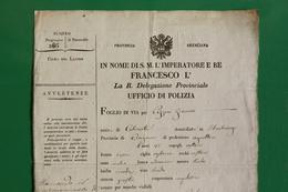 D-IT  Foglio Di Via REGNO LOMBARDO VENETO Brescia 1826 FRANCESCO I - Reisepass - Documents Historiques