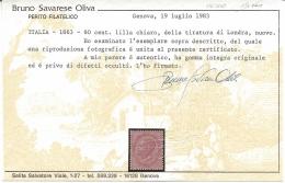 Italy 1863 60c Lilla Sassone Nº L21 Catalog Value 3500€ Certificate - Nuevos