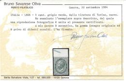 Italy 1863 5c Verde Sassone Nº T16 Catalog Value 14000€ Certificate - Nuevos