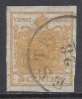 Lombardo Veneto 1850 5c  Giallo Ocra Sassone Nº 1 Catalog Value 250€ - Lombardo-Vénétie