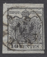 Lombardo Veneto 1850 10c Nero Intenso Sassone Nº 2d Catalog Value 300€ - Lombardo-Vénétie