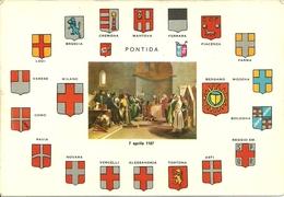 Pontida (Bergamo, Lombardia) Araldica Delle Città Della Lega Lombarda (dimens. Grande 16 X 11,1 Cm) - Bergamo