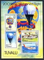 TUVALU 1983, MONTGOLFIERE, AVION, HYDRAVION, BALLON, 1 Bloc De 4 Valeurs, Neuf. R115 - Luchtballons