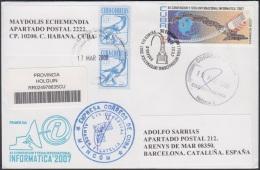 2007-FDC-68 CUBA 2007 FDC REG. COVER TO SPAIN. XII CONVENCION INFORMATICA. TELEFONO TELEPHON. - FDC
