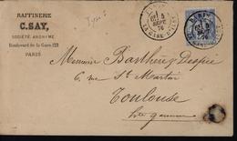 YT 68 Sage N/B Enveloppe Illustrée De La Raffinerie C Say Paris Glucophile - Poststempel (Briefe)