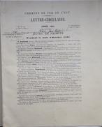 """Chemins De Fer De L'Est - Lettre-Circulaire - """"Actes De Probité"""" Mois D'octobre 1891 - Non Classés"""