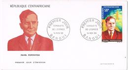 20991. Carta F.D.C. BANGUI (republica Centroafricana) 1966. Space. Espacio. Pavel Popovitch