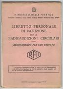 BU196   LIBRETTO PERSONALE ISCRIZIONE RADIOAUDIZIONI 1962 RAI ABBONAMENTO CANONE - Non Classificati