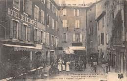 07 - ARDECHE / Largentière - Place Mazan Et Grand Hôtel De L' Europe - Belle Animation - Léger Défaut - Largentiere
