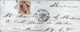 Etoile 9 Variante P6 / 10c. BISTRE EMPIRE LAURE N°28  Paris R. MONTAIGNE 22 JANV. 1870 Pour Paris  TTB Ind 14 - 1849-1876: Classic Period