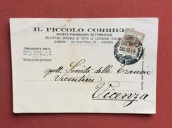 ESPOSIZIONE IGIENE MARINA E COLONIE  CARTOLINA PUBBLICITARIA IL PICCOLO CORRIERE RIVISTA FINANZIARIA X VICENZA 20/10/14 - Marcophilia