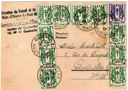 Carte Convocation Main D'oeuvre AFFR; Avec 30c (10) & 50c(1) Chaine Brisee 15/3/1947  TTB - 1921-1960: Modern Period
