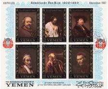 1967 - Yemen - Peinture De Rembrandt. Bloc Perforé Amphilex (Michel N° 37A) - Jemen