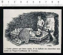 2 Scans / Humour Grotte Préhistorique Près De Carnac ? Lit-Dolmen ? Peau D'ours Fourrure / Cruciverbiste   / VP 198-PF-4 - Vieux Papiers