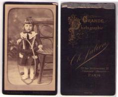 (Photo Carte De Visite) 205, Jouet, Enfant Avec Un Cerceau Par Ch Julien à Paris - Oud (voor 1900)