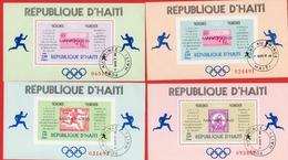1969 - Haiti - 4 Blocs  Vainqueurs Des Marathons Olympiques (1896-1968). Blocs Feuillets N°26/26A - 27/27A - Haiti
