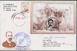 2006-FDC-99 CUBA 2006 FDC REG COVER TO SPAIN. SOCIEDAD CULTURAL JOSE MARTI. LICEO DE TAMPA, FLORIDA. - FDC