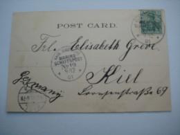 1901 , Marineschiffpost Nr. 19 , Klarer Stempel Auf Karte Aus  Gibraltar - Deutschland