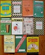 LOT 11 LIVRETS DE JEUX JACQUET-ECHECS-POKER-CROQUET-DAMES-ECARTE-DOMINOS-TENNIS - Palour Games
