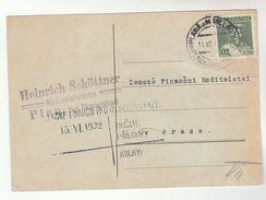 1932 CZECHOSLOVAKIA Stamps COVER (card) - Czechoslovakia
