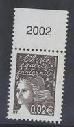 2002 - TIMBRE NEUF - MARIANNE DE LUQUET (Bistre-noir) - N° YT : 3444 - Frankreich