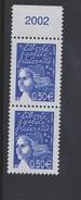 2002 - TIMBRE NEUF - MARIANNE DE LUQUET (Bleu Nuit) - N° YT : 3449 X2 - Frankreich