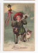 Nouvelle Année  Enfant Clairon Lanterne  Chien  Paysage De Neige - Nouvel An