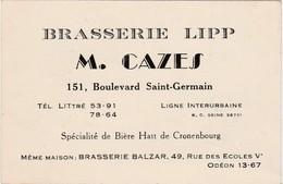 Carte Commerciale / Brasserie LIPP / Bd St Germain / M. CAZES / Bière Hatt De Cronenbourg / Paris - Cartes
