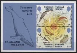Falkland 1984 Naturschutz Fisch Robbe Albatros Block 4 Postfrisch (C72630) - Falklandeilanden