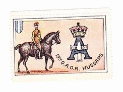 Vignette Militaire Delandre - Angleterre - 19th Q.A.O.R. Hussars - Erinnofilia
