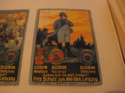 4 Poster Stamp Advertising  Litho ART NAPOLEON  Fritz Schutz Leipzich  GLOBUS GEOLIN GLOBIN Metall Putz - Cinderellas