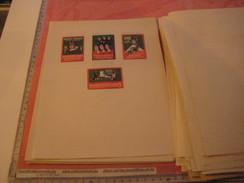 4 Poster Stamp Advertising Litho ESSOR SCHUHE Winterthur Bestehorn Aschersleben  ART Cat Fishing, Gnome Dwarf, Lapins - Erinnofilie