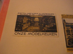 4 Poster Stamp Advertising Litho MEYES HOWELER Amsterdam Damrak Haarden Fornuizen Modelkeuken Nederland   ART - Erinnophilie