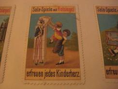 3 Poster Stamp Advertising Litho SALA Spiele Mit ROTSIEGEL Kionderherz Ministrel Kinder Goose Girl Games  ART - Erinnophilie